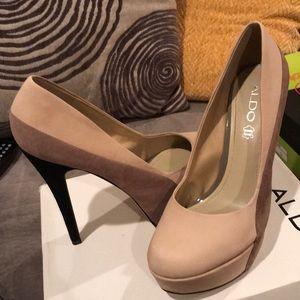 Cream brown and black high heels